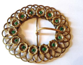 Art Nouveau Rhinestone & Brass Belt Buckle Massive Fashion Accessory