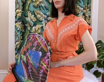 1940s Coral Orange Embroidered Rayon Blend Button Down Dress 26 waist