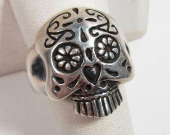 Sterling Silver Femme Metale .925 Sugar Skull Day of the Dead Ring Size 9.5 17gr