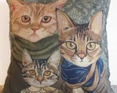 Cats In Clothes Pillow Cover - Family - Painting by Heather Mattoon