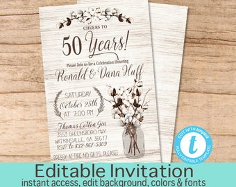 50th Anniversary invitation, Anniversary Party Invitation, Rustic Anniversary Invitation, Editable Invite, Instant Download