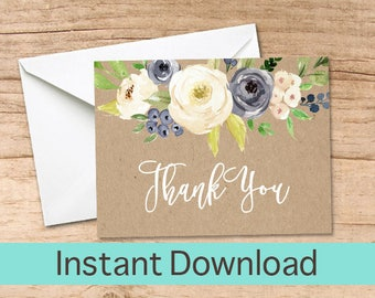 Blue Floral Thank You Card, Watercolor Printable Thank you Cards, Kraft Thank You Instant Download, Baby Shower Thank You Card