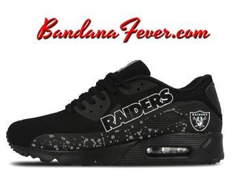 sports shoes 8e0b1 e3d9c ... Custom Raiders Nike Air Max 90 Shoes Ultra Black, FREE SHIPPING,  Raiders, Nike Cortez ...