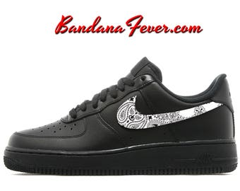 best service 3dbd5 346ae ... Custom White Bandana Nike Air Force 1 Shoes Black Low, FREE SHIPPING,  ...