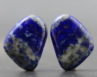 Lapis Lazuli Cabochon Pair with Bands, Stripes Polished Gemstone Rare Specimens for Earrings and Jewelry (CA8774)