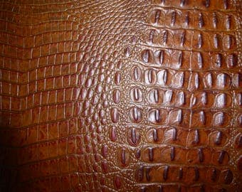 "Leather CLOSEOUT dye lot 2 pieces 8""x10"" ALLIGATOR Cognac with Chocolate tips croc Embossed Cowhide #138p 2.5-2.75oz/1-1.1 mm PeggySueAlso™"