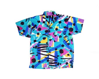 Vibrant 80s Pierre Bonee Brush Stroke Short Sleeve Collared Shirt - M