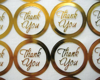 THANK YOU Print Wedding Round Envelope Seal Stickers, GOLD Clear Transparent Round Thank You Sticker Seals, 1 inch, 60 or 100 Stickers