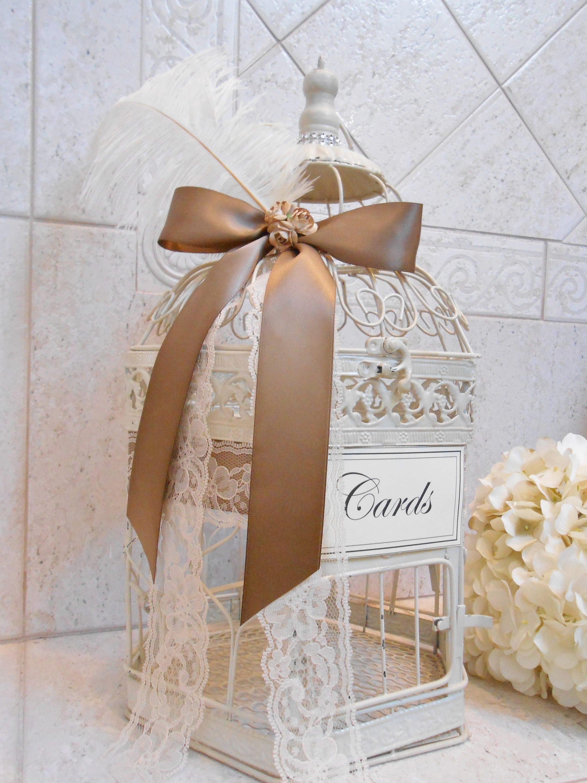 13% f CLEARANCE SALE Medium Distressed Cream Wedding Birdcage