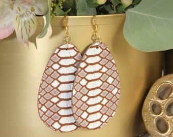 Printed leather earrings