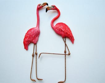 Flamingos sculpture wall decor