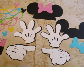 DIY Minnie Mouse Black Ears Gloves Glasses Bowtique colors Bow Lipstick Lips Cardstock for Crafts Photo Booth Birthday Party  Props DIY