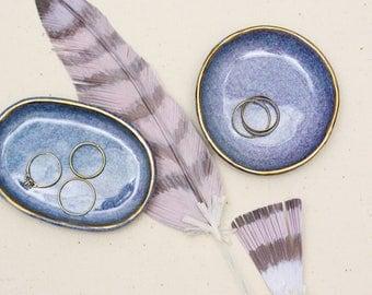 blue and gold ring dish / trinket dish