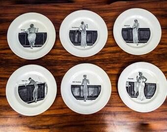 Vintage Art Deco Set of 6 C W Anderson Crown Ducal Porcelain Cocktail Side Plates, One of a Kind 1920s Home Decor Ideas