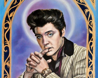 Saint Elvis Presley The King Art Print- matted 11x14