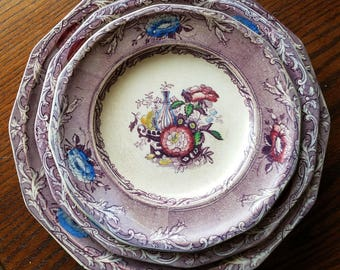 C. Wooliscroft Gaudy Purple Ironstone hand painted Excelsior plate set of 3