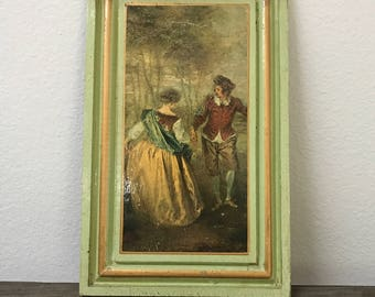 Vintage Italian Florentine green and gold picture wood wall plaque