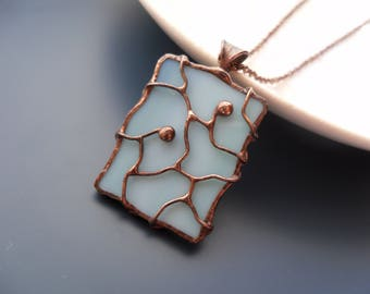 Stained glass jewelry, wire necklace, contemporary jewelry, turquoise, gift for women, statement necklace, bohemian, Separate paths