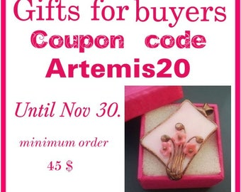 Sale, gifts for buyers, coupon code ARTEMIS20, sale 20%