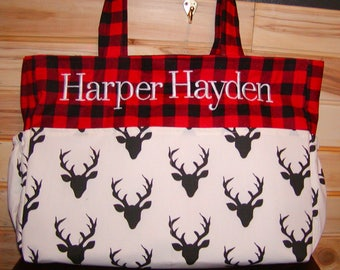 Diaper bag, handbag, purse, book bag..Black Buck N Red Plaid..with name, choose end pockets and a font. Customize yours now.
