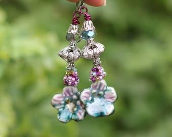 SALE, Handmade, BOHO Style, Raku, Vintage Look, Bohemian Style Earrings, Boho, Gypsy Style, Lightweight, Dangle Earrings
