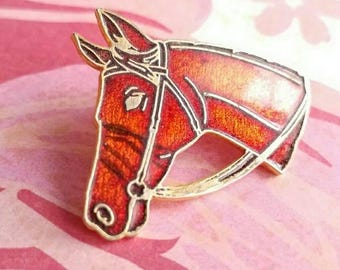 Vintage enamel horse brooch pin pony