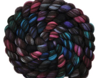 Handpainted roving - Corriedale Humbug wool spinning fiber - 6.6 ounces -  Storm Chaser