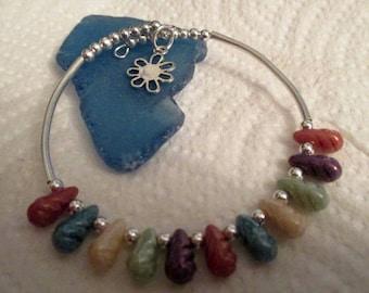 Earthtone Drop Beads Silver Bracelet