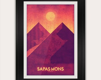 Space Travel Poster - Venus - Sapas Mons