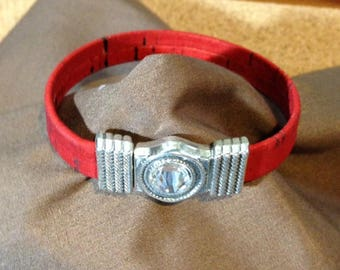 "Genuine CORK Flat Cord Bracelet with Magnetic Clasp - Silver - 7 1/4, 7 1/2, and 8"" Sizes Available"