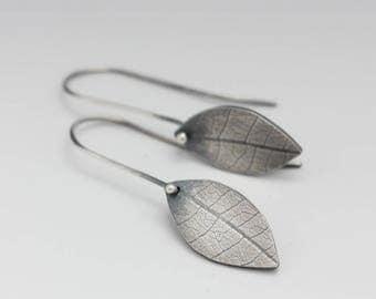 Sterling Silver Leaf Earrings, Le Chien Noir, Boho Leaf Earrings, Rustic Leaf Earrings