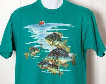 Vintage 80s 90s Fishing Bobber Bluegill Tshirt - L