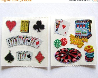 SALE Vegas Casino Pair of Vintage Sandylion Glitter Sticker Mods - Roulette Cards Dice Spade Diamond Heart Poker Craps Scrapbook Collage