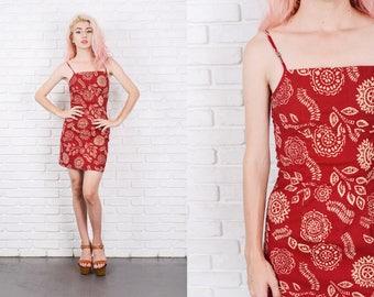 Vintage 80s 90s Red Mini Dress Floral Ethnic Print Dress Stretch XXS 9828