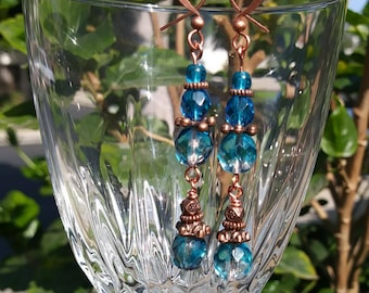 teal and copper bead earrings