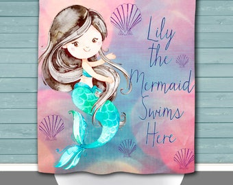 Custom Mermaid Shower Curtain: Your Child's Name + Mermaid Swims Here | Size and Pricing via Dropdown