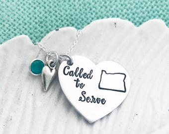 "ALL 50 STATES Available ""Called to Serve"" in Spanish ""Llamada a Servir"" Personalized State - Hand Stamped LDS Mormon Missionary Necklace"
