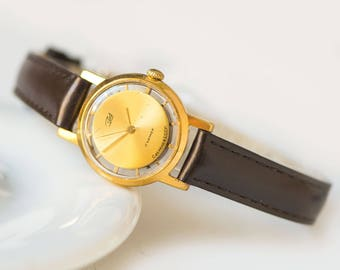 Limited edition skeleton wristwatch gold plated, women watch unique, rare design women watch Dawn jewelry watch gift new luxury leather band