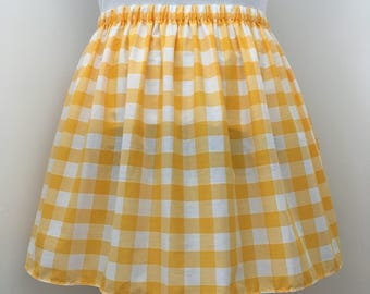 Yellow Gingham Knee Length Skirt