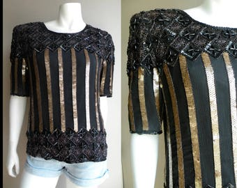 80s Black Beaded Silk Top Blouse old Stripes Art Deco Style - S M