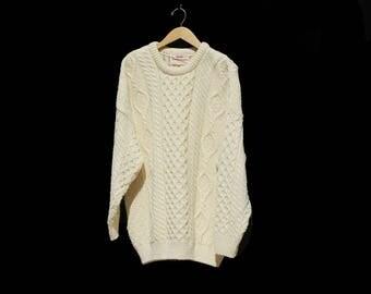 Vintage Cream Oversized Irish Cable knit Wool Sweater