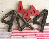 Vintage Lot Wooden Number Four/July 4th Craft Supply/Rustic Independence Day Decor/Six Painted Numbers/Cabin Address/Weathered Wood/Summer