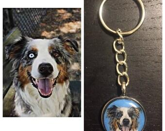 Custom Hand Drawn Dog Portrait Keychain
