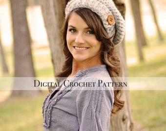 ON SALE Crochet Hat Pattern / Crochet Pattern / Button Tab Slouchy Hat Pattern 020 / Women's Hat Pattern / Children's Hat Pattern