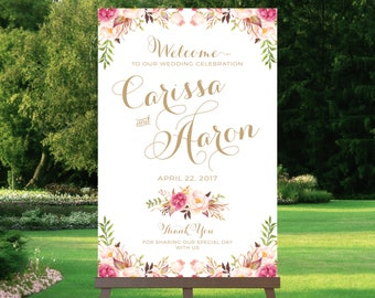 Wedding Welcome Sign   Large Wedding Poster   Various Sizes   Vintage   Antique Gold   Floral Options   I Create and You Print
