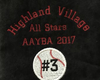 Personalized softball or baseball towel, personalized towels, custom embroidery, pin towel, one towel, 5 rows personization