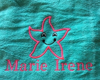 starfish beach towel, personalized beach towels, towels for kids and adults, monogram, beach towel, pool towel, 30 x 60