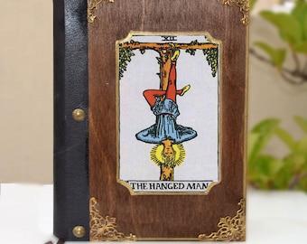 The hanged man,Original artwork,tarot card, tarot art, fortune teller, illustration journal, tarot print,Handcrafted journal,wooden notebook
