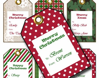 Christmas Tags Digital, Blank gift Tags, Holiday Gift Tags, Craft supplies, digital Christmas gift tags, editable, custom to from tags, red