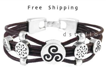 Custom men's leather bracelet - Celtic bracelet - Celtic triskel leather bracelet for women - Triskelion - Antique silver - Spanish leather